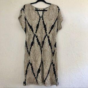 Sonoma Short Sleeve Tan and Black Midi Dress